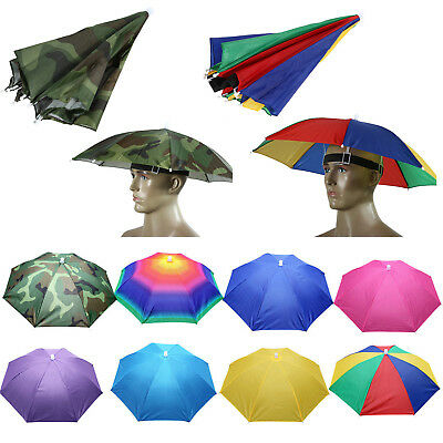 AU14.72 • Buy Unisex Foldable Umbrella Head Hat Outdoor Fishing Hiking Camping Headwear Caps