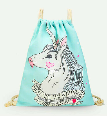 AU6.95 • Buy Cute Unicorn Heart Drawstring Backpack
