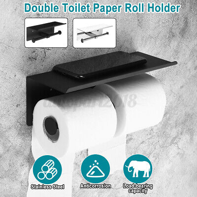AU25.26 • Buy  AU Double Toilet Paper Roll Holder Polished Rack Rail Storage +Phone Shelf Set