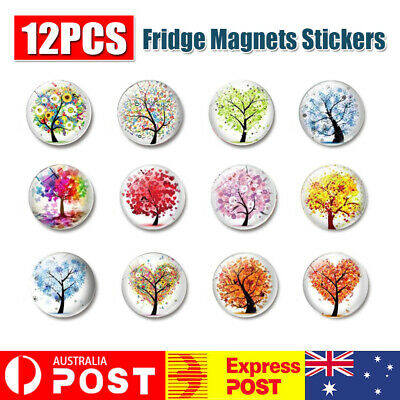 AU7.23 • Buy 12 Pcs Fridge Magnets Tree Of Life Glass Stickers Whiteboard Decoration For Home