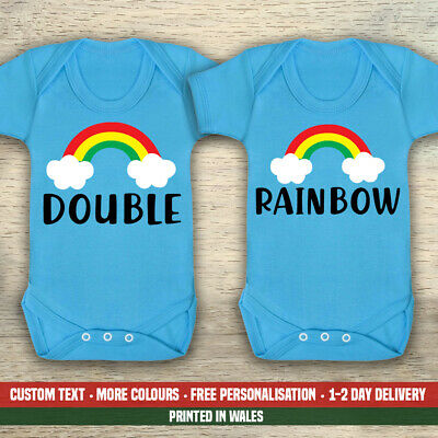 Double Rainbow TWINS Funny Cute Baby Vest Twin Gender Girls New Reveal Gifts • 20.99£
