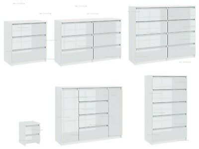 £139.49 • Buy Chest Of  Drawers  Sideboard TV Unit Cabinet Storage White Gloss Fronts