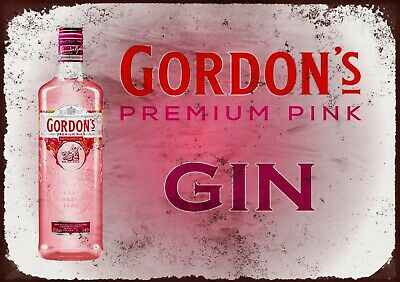 Gordons Pink Gin Landscape Metal Wall Sign • 5£