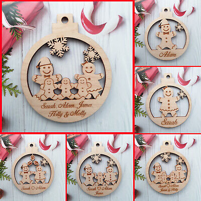 Christmas Bauble Personalised Family Tree Decoration Family Wooden Xmas PLY • 3.95£