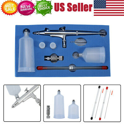 $22.25 • Buy Gravity Feed Dual Action Airbrush Kit Set Tool 0.2/0.3/0.5mm Needles Nozzles
