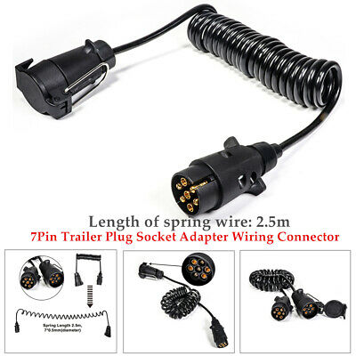 AU36.37 • Buy 2.5m Spring Cable Cord 7Pin Trailer Plug Socket Adapter Wiring Connector 1PCS
