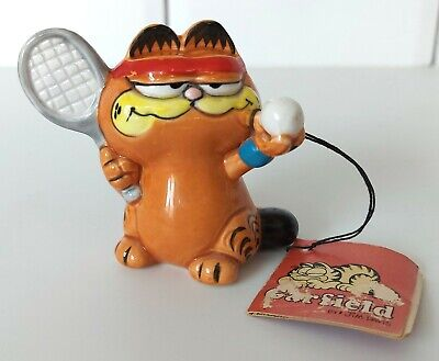 Vintage Ceramic GARFIELD Tennis Figure, With Tag, Ornament, Enesco 1978 • 9.99£