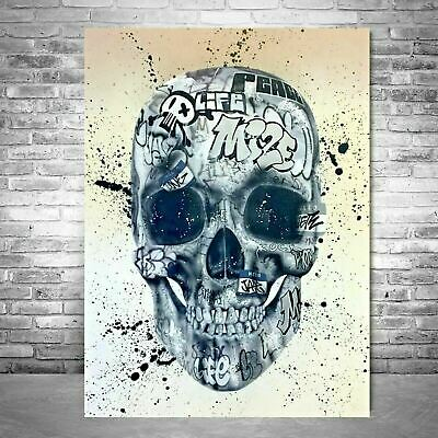 Skull Canvas Wall Art Hands Graffiti Print Street Art Framed Picture Home Decor • 19.99£