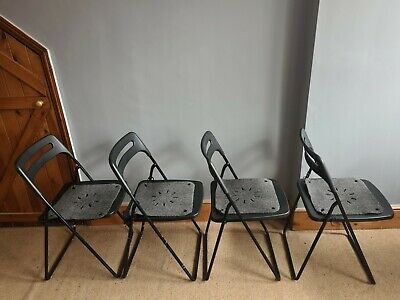 Four (4) Folding And Stackable Chairs With Felt Padding (Perfect Condition) • 43£
