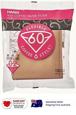 AU19.50 • Buy Japan Hario V60 Unbleached Coffee Paper Filter 02 M 100 Sheets 1-4 Cups