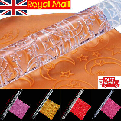 Texture Embossing Acrylic Rolling Pin Various Designs For Cake Icing Decorating • 3.39£