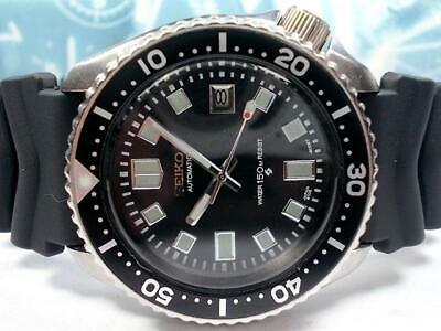 $ CDN613.36 • Buy Seiko Vintage Diver 7002-700A Custom Black SS Automatic Mens Watch Auth Works