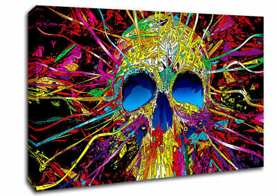 Colourful Skull Modern 07123 Canvas Print Wall Art • 59.99£