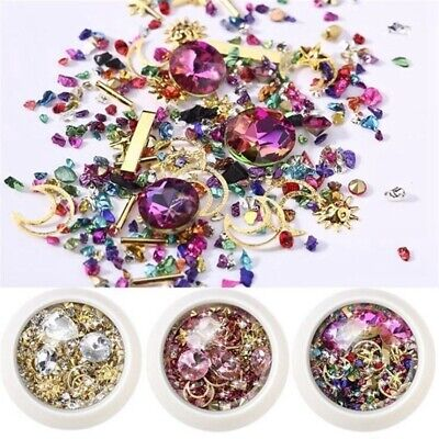 UK 3D Mixed Nail Art Rhinestones Crystal Gems Jewelry Gold AB Shiny Stones • 3.50£
