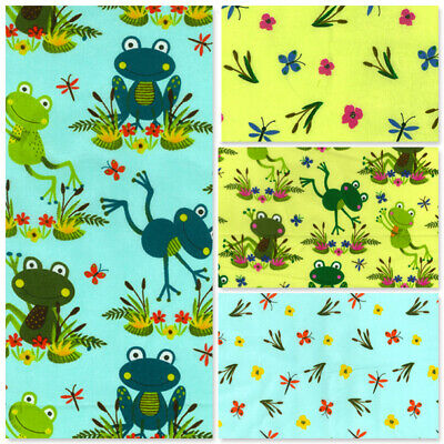 £5.50 • Buy 100% Cotton Fabric Frogs Lilypad Toads Bullrushes Butterfly Pond Dragonflies Sew