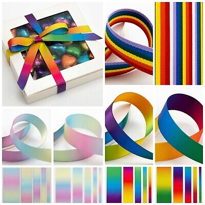 £1.53 • Buy Rainbow Bright/Pastel Ribbon DOUBLE SIDED Various Widths Lengths