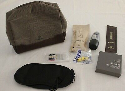 AU25 • Buy EMIRATES ~ Mens Brown Faux Leather Travel Bag W Eyemask Aspar Toiletries NEW