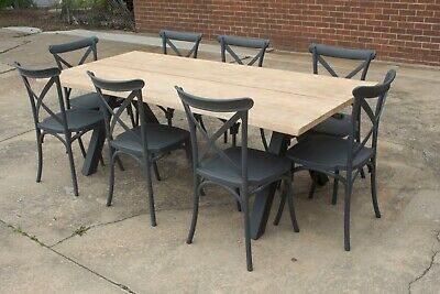 AU1599 • Buy Wharf 2 - Outdoor Setting - 2200mm Solid Acacia Timber Table - 7 Or 9 Pieces