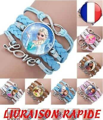 Bracelet Disney Princess Children Stripe Comics Elsa Anna Beautiful Girl Sheath • 7.36£