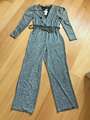 NEW With Tags :River Island Silver Glitter Wrap Frill Belted Jumpsuit  Size UK12 • 11£