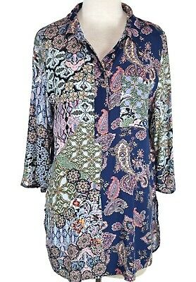$ CDN43.49 • Buy Anthropologie Fig And Flower Tunic Top Sz Large Floral 3/4 Sleeve Peasant Boho