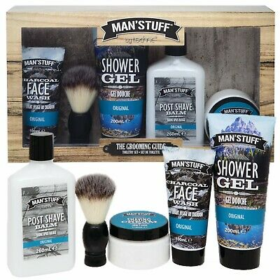 Mens Grooming Gift Set Kit Skin Care Charcoal Face Wash Shaving Cream Balm Brush • 14.99£