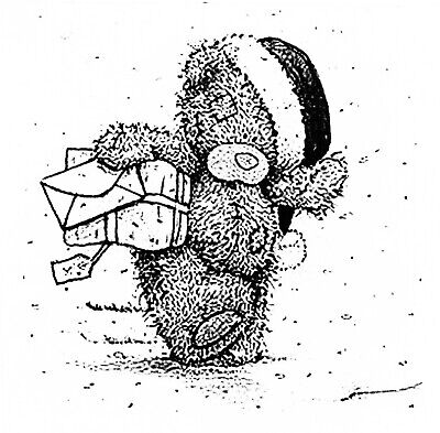 Christmas Winter Teddy Bear With Presents Gifts Cartoon Clear Cling Stamp • 6.66£