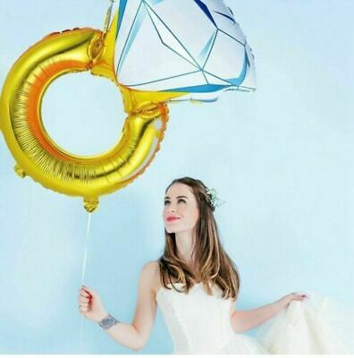 AU4.42 • Buy Large Diamond Ring Helium Foil Balloon Engagement Propose Wedding Party UK