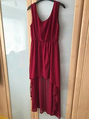 Ladies Long Length High/ Low Burgundy Coloured Dress Size Size 10  • 6.95£