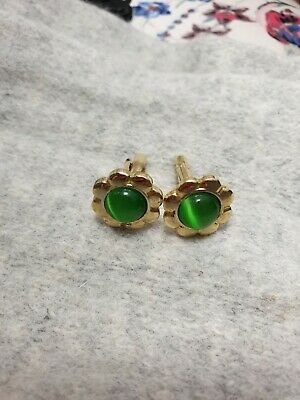Women Or Men's Cufflinks Green Faceted And Gold Tone Cufflinks. • 5.99£