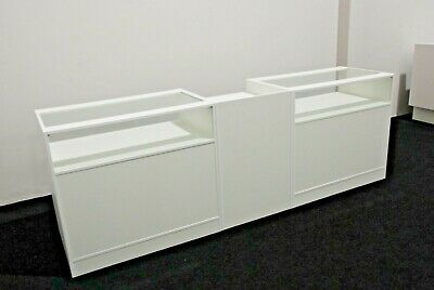 White Shop Counters Glass Shelves Mobile Phones Vapes Jewellery Set Of 3 Units • 525£
