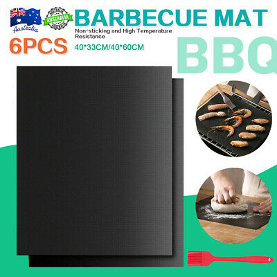 AU19.95 • Buy 6PCS BBQ Grill Mats Reusable Baking Cooking Sheet Non-Stick Teflon Barbecue Pad