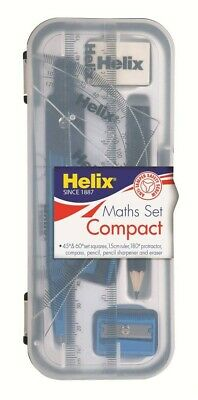 £3.18 • Buy Helix Compact Maths Geomety Set With Compass Ruler Protractor Squares Sharpener