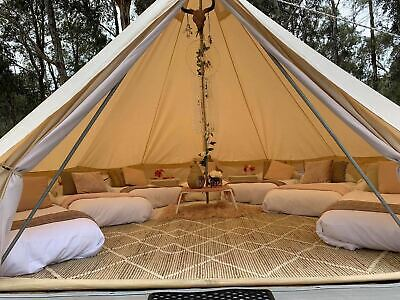Glamping Cotton Canvas Bell Tent 5M Waterproof Four-Season Family Camping Yurts • 479.99£