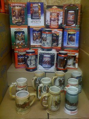 $ CDN657.78 • Buy Budweiser Bud Holiday Christmas Steins Set 1980 - 2006  27 Steins New In Box Lot