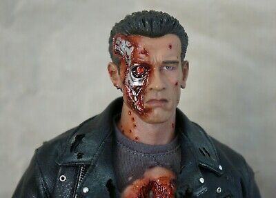 1/6 Custom Chromed Terminator T-800 Head RED EYE Crystal. Will Fit Hot Toys DX13 • 35£