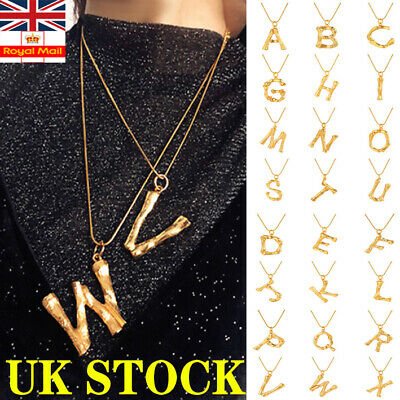 £3.78 • Buy Initial 26 Letters Fashion Big Alphabet Necklace Gold Plated A-Z Personality UK