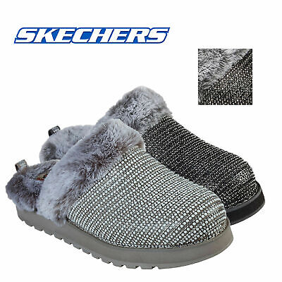 BOBS Skechers Keepsake High Dream Ninja Slippers Rhinestone Mule Faux Fur Shoes  • 49.98£