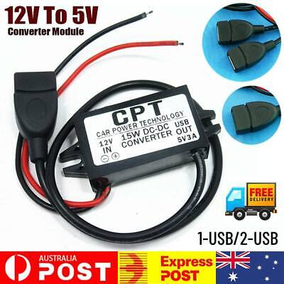 AU16.42 • Buy 12V To 5V Converter Module 3A 15W USB Output Power Adapter Without  Screw Holes