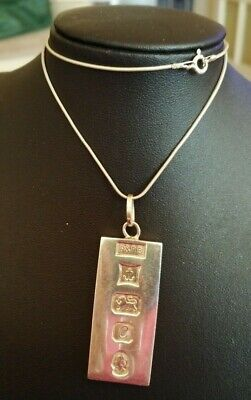 Heavy Sterling Silver Ingot & Chain - 33.4 Gms • 23£