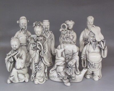 $ CDN327.32 • Buy A Set 8 Fine Chinese Old Dehua White Porcelain Carved Immortals Buddha Figurines