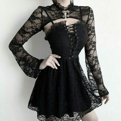 Women Sexy Girls Gothic Dress Smock Outfits Punk Dress Costume Clothes Black  • 8.99£