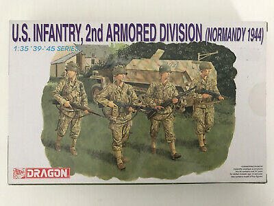 Rare Dragon 1/35 US Infantry 2nd Armoured Division Normandy 1944 (4 Figures) • 18.99£