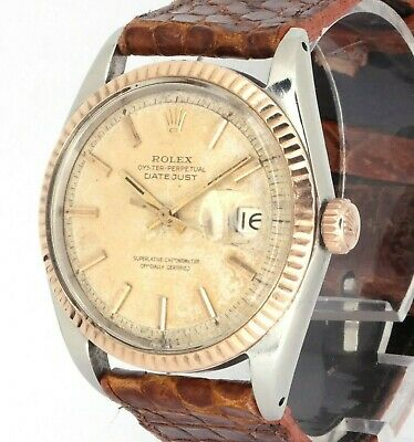 $ CDN5212.74 • Buy 1967 Rolex Datejust 1601 36mm 18k Rose Gold Bezel Pie-Pan Patina Dial