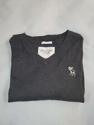 Abercrombie And Fitch Mens Grey Cotton Blend Muscle Fit Jumper Size Medium • 4.20£