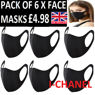 6 X Face Mask Black Reusable Washable Breathable Dust Mouth Cover Protection Uk • 3.89£