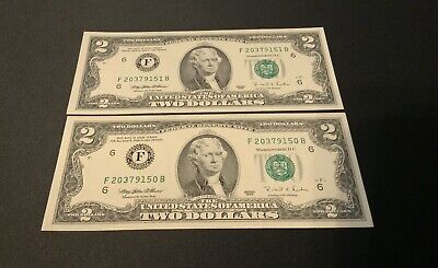 $ CDN9.21 • Buy 1995 Two Dollar Bill $2 Note -Consecutive Numbers SET OF 2 UNCIRCULATED