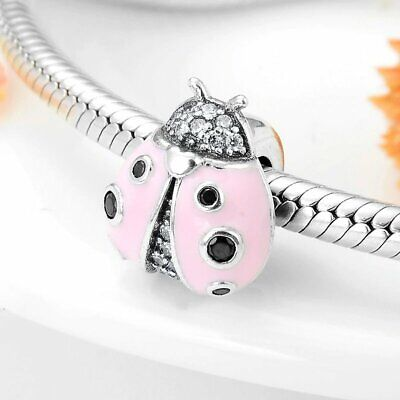 AU27.95 • Buy PINK LADYBUG BEAD CHARM S925 Sterling Silver By Charm Heaven NEW