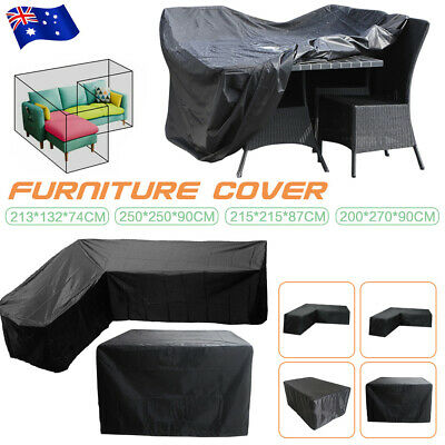 AU35.35 • Buy Waterproof L Shape Furniture Cover Outdoor Garden Rattan Corner Sofa Protection