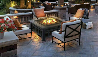 Outdoor Fire Pit BBQ Firepit Garden Square Table Stove Patio Heater With Grill • 98.50£